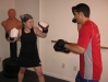 Focus mitt training.  Jaci prepares to unleash her straight right.
