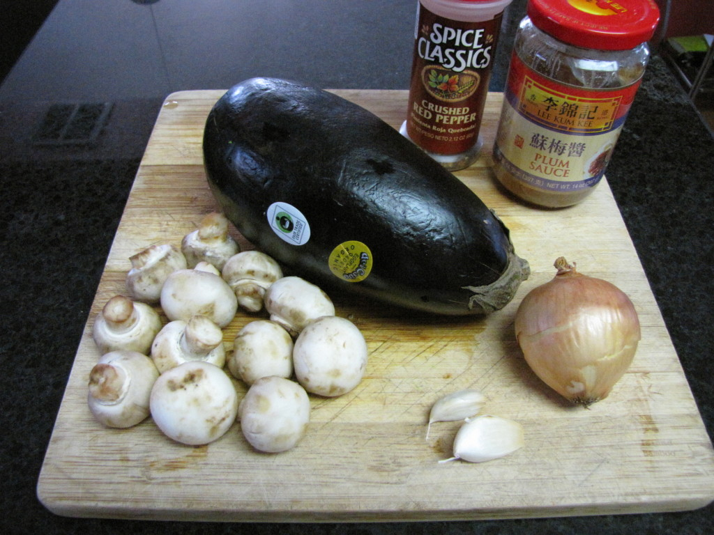 Ingredients for Spicy Stir Fry Eggplant with Mushrooms