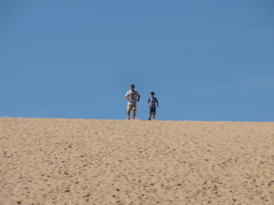 Bruce and I running down the Dunes.
